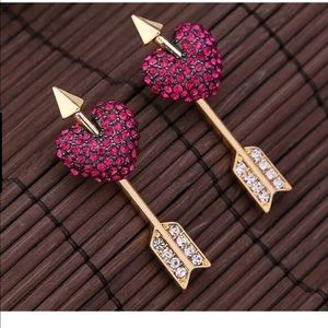 Betsey Johnson Heart Arrows Front Back Earrings